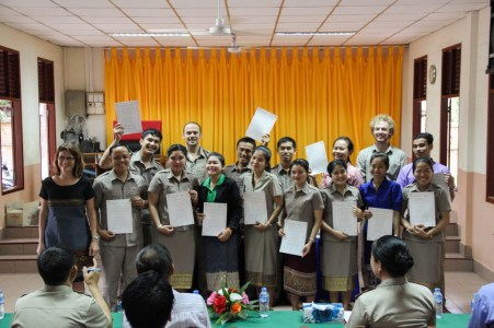 "All ""non-English"" teachers at Phang Heng secondary school with their certificates (teachers who do not teach English, but also learn English)"