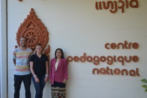 David Schrep, Anika Broghammer, Ms Viengkham Phonpraseuth in front of the RIES