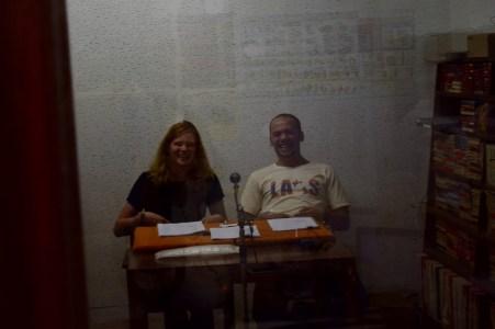 Anika and David having fun in the recording studio
