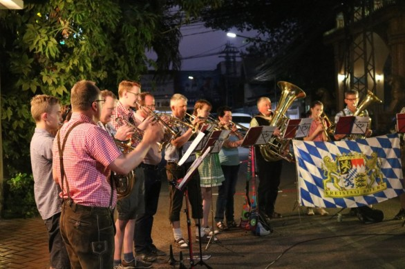 """The """"Trombone band Floss"""" during one of their performances"""