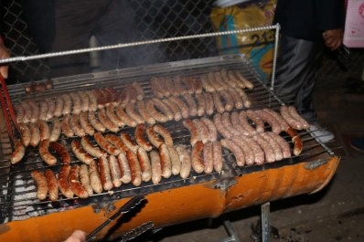 Traditional German sausages on the barbecue