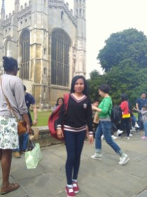 Me in front of the university in Cambridge