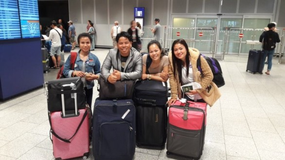 Tired and excited: The Lao guests arrive at Frankfurt Airport