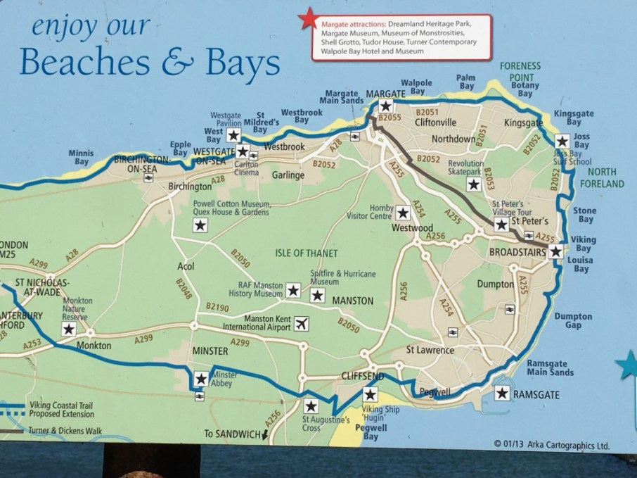 ...around the peninsula of Thanet (which you can also cycle, as you see on this bike map)