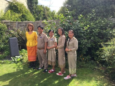 Our group in our teachers uniforms and Prof Martin in Mit's Lao dress
