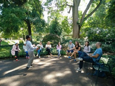 """Souvanh gives a """"speech"""" in the Japanese Garden"""
