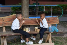 Two boys spend their lunch break together having sticky rice