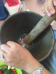 Combine all of the ingredients in the mortar