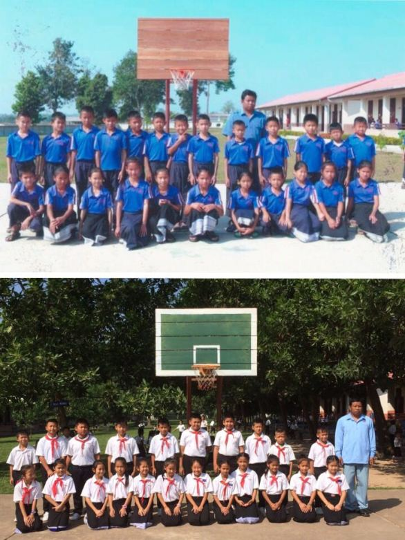 Mr Kongphang with his pupils in the past and today