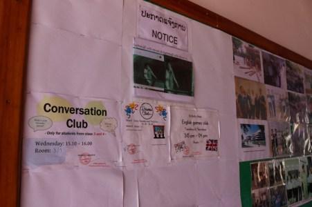 Information board at Ban Phang Heng Secondary School