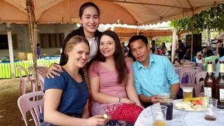 Tasja, Oedina, Anna and Souvanny at a wedding