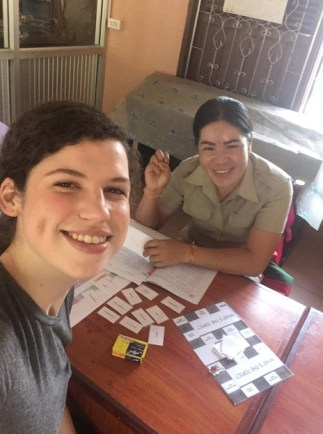 Svenja and Ms Bounpheng during their English lesson