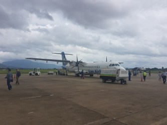 """""""Lao Airlines""""-airplane at Savannakhet Airport"""