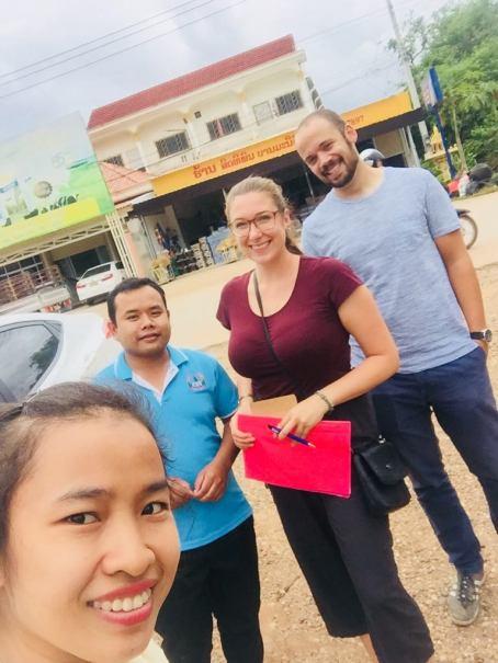 Ms Khantanaly Panvilaysone, Mr Kaikeo Phothichack, Jasmin Unterweger, and David Schrep on the way to the Morning Market in Savannakhet