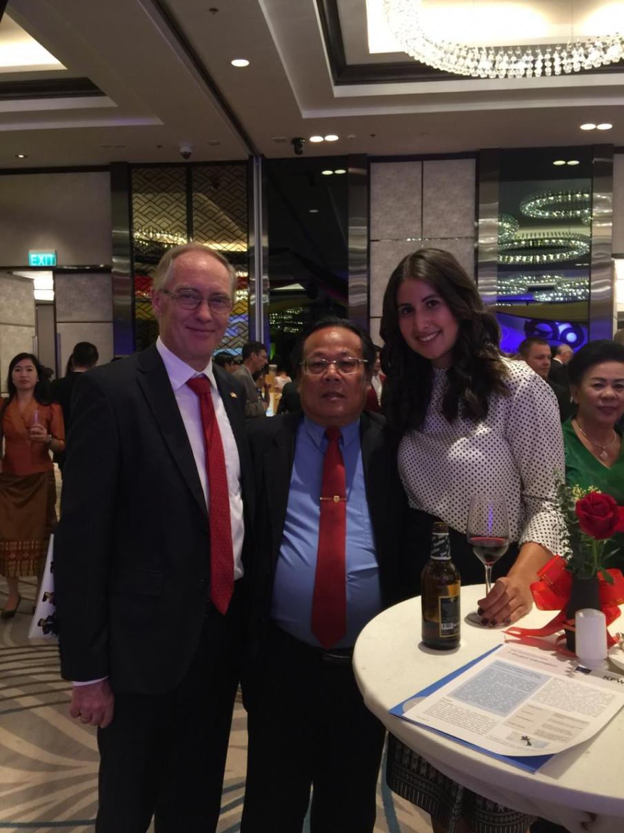 His Excellency Ambassador Mr Jens Luetkenherm, Director of International Relations Mr Bounnhang Xaysanavong, Shirin Ud-Din
