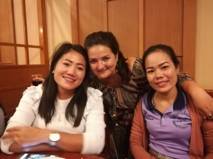 A happy trio: Lao teachers Mit (left) and Noy (right) with Meike