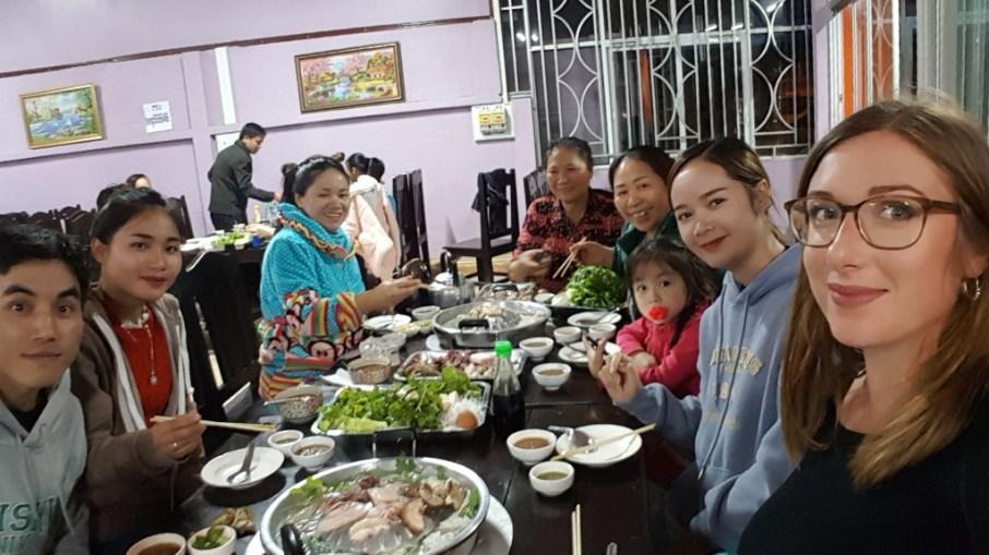 Khamsee, Bounphay, Ms Toun Alounthong, Aunt Thay, Ms Line Xayatham, Natxay, Naphatsone, and Jasmin at the Hot Pot restaurant