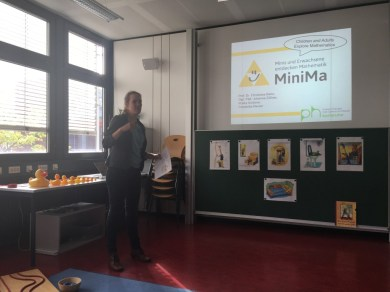 """Ms Schoener explains the Maths Lab (""""Minima"""") for primary school pupils..."""