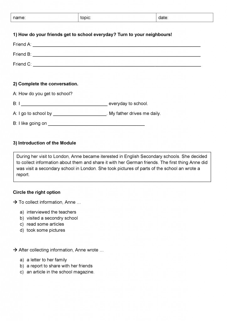 Examplary worksheet for an English lesson created by Rebekka and Vanessa