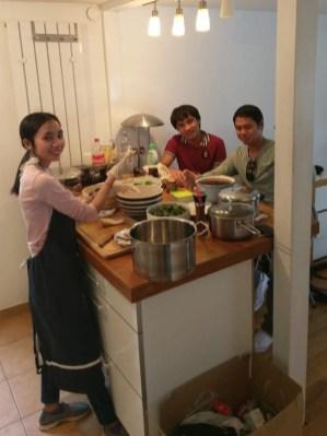 Ms Viengvilaiphone, Mr Napha, Mr Thaithanawanh prepare Lao dessert