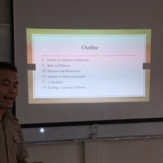 ... the outline of his presentation.