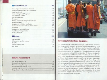 """Table of contents with sections on being a foreigner in Laos and addendum - excerpt from """"KulturSchock Laos"""", © 2005 Reise Know-How Verlag Peter Rump GmbH"""