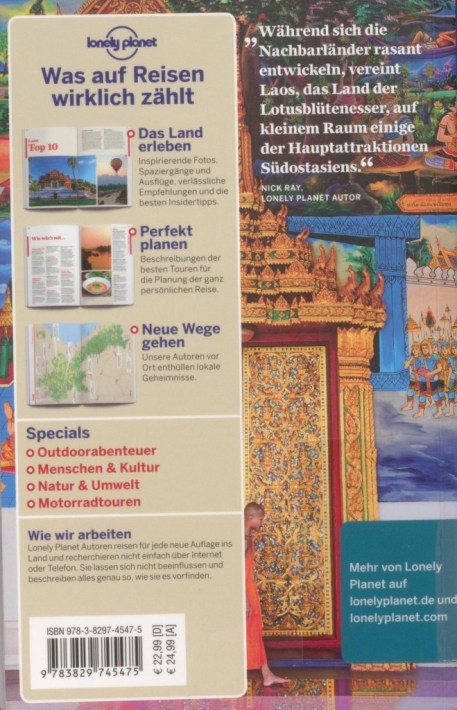 """Back cover of """"Lonely Planet Laos"""" - excerpt from """"Lonely Planet Laos"""", © 2007 MAIRDUMONT GmbH & Co. KG"""