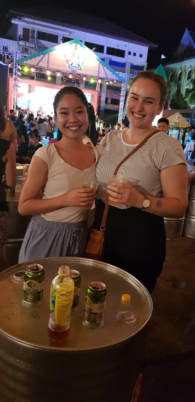Jacqueline Muss and me at the Oktoberfest in Laos