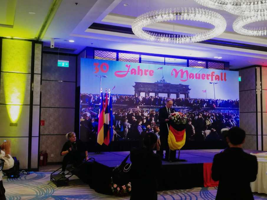 His Excellency Mr Jens Lütkenherm, the German Ambassador in Vientiane, Laos, gives his speech and praises fruitful Lao-German cooperations.