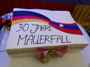 """""""Birthday cake"""" for the 30th anniversary of the Fall of the Berlin Wall. It is a symbol for Lao-German friendship (after we left it was still untouched as no one wanted to destroy its beauty)."""