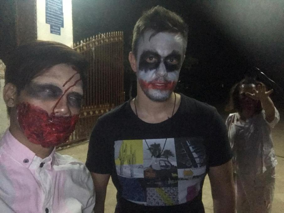 Lucas and I with our Halloween make-up. Also, do not overlook Lucas's mother in the background dressed as a zombie!