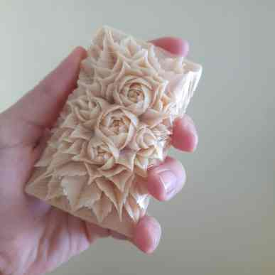... but also about carving food intricately, and in this case soap.