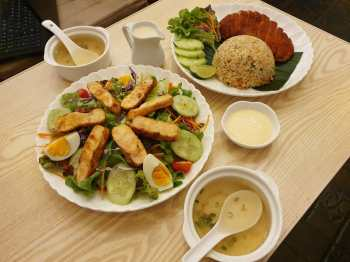 Two of our favourites: Chicken salad and crispy chicken with fried rice