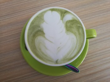 One of our favourite drinks is this hot matcha latte including latte art