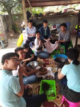 Teachers prepare some food during work.