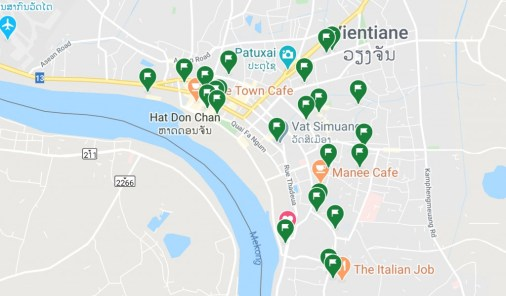 "All the green flags are cafés and restaurants we marked as ""places we want to go to""."