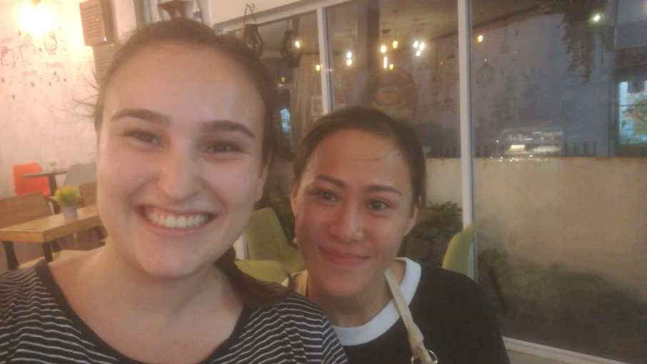 Not only did we find our favourite café in Vientiane, but also a friend