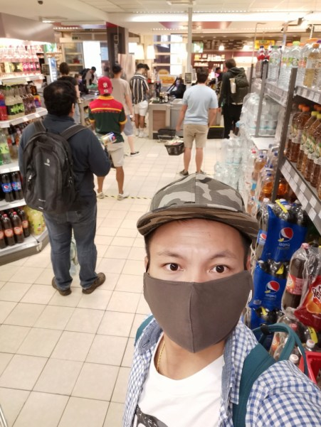 Kept distance for prevention of the shop during pandemic spreading