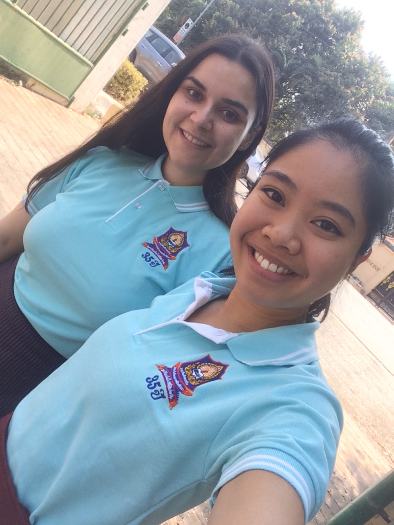 Laura Jakob and Phi Ha Nguyen proudly wear their VEDI shirts.