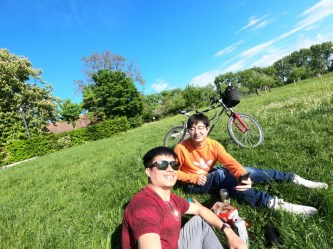 Biking near the Rhine river with a Chinese friend