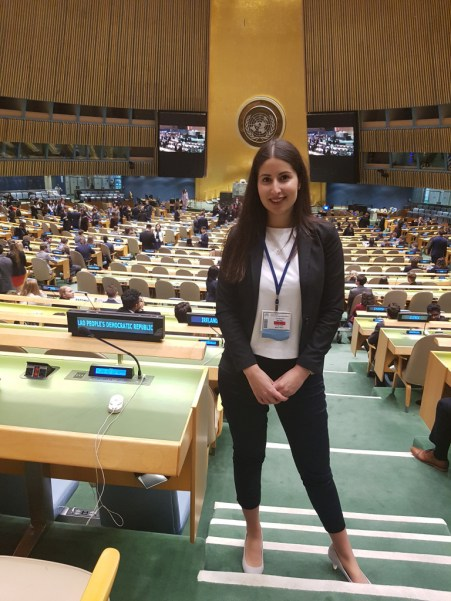 Shirin Ud-Din in the hall of the United Nations at the place for the Lao Delegates