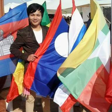 Me in Israel with National flag of Lao PDR