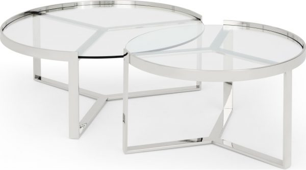 aula nesting coffee table stainless steel and glass
