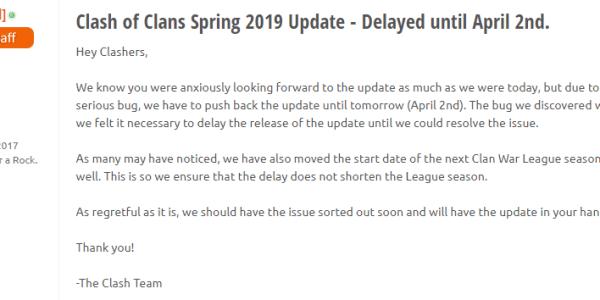 Aggiornamento Clash of Clans 2019: posticipato al 2 Aprile