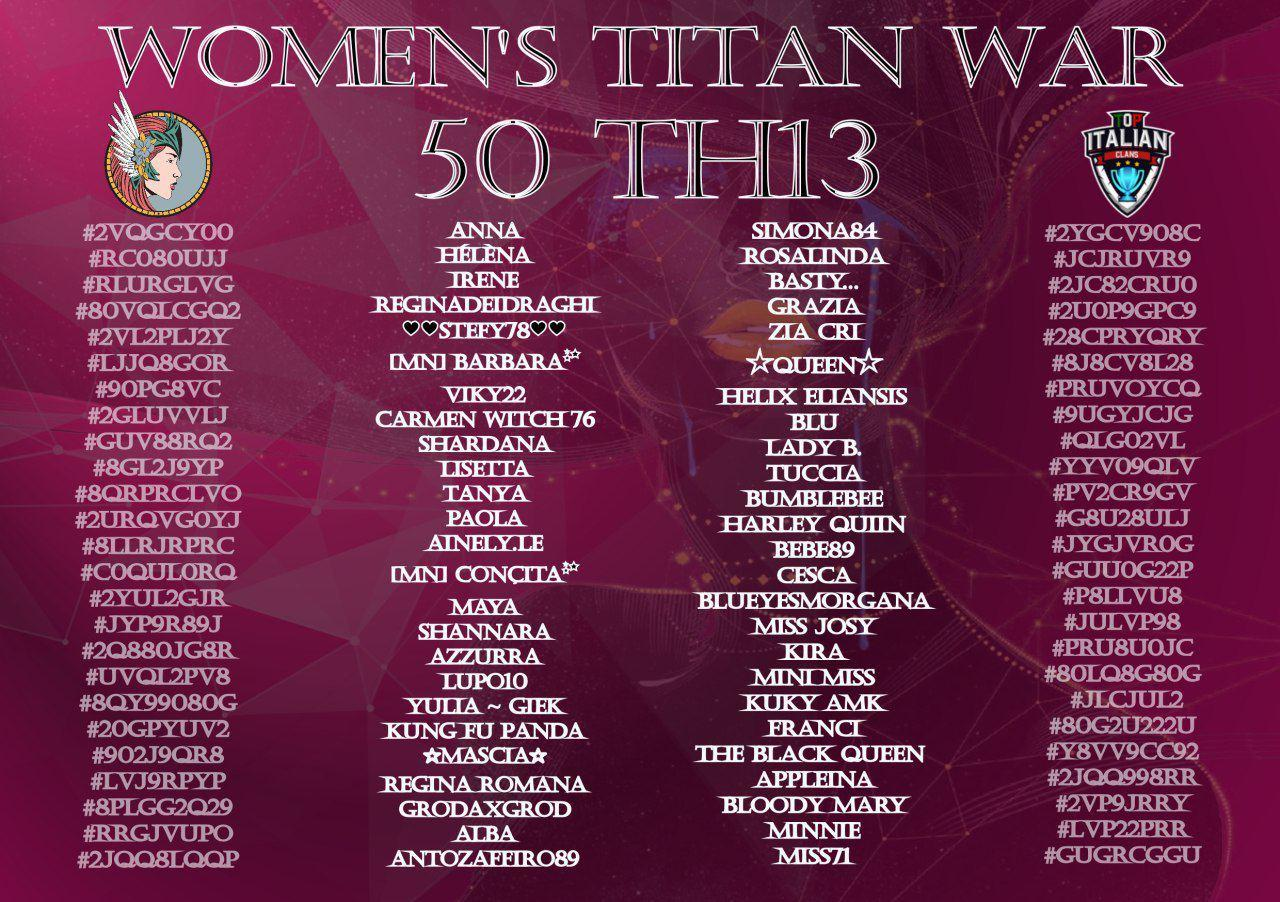 Women's Titan War: prima war full Th13 donne