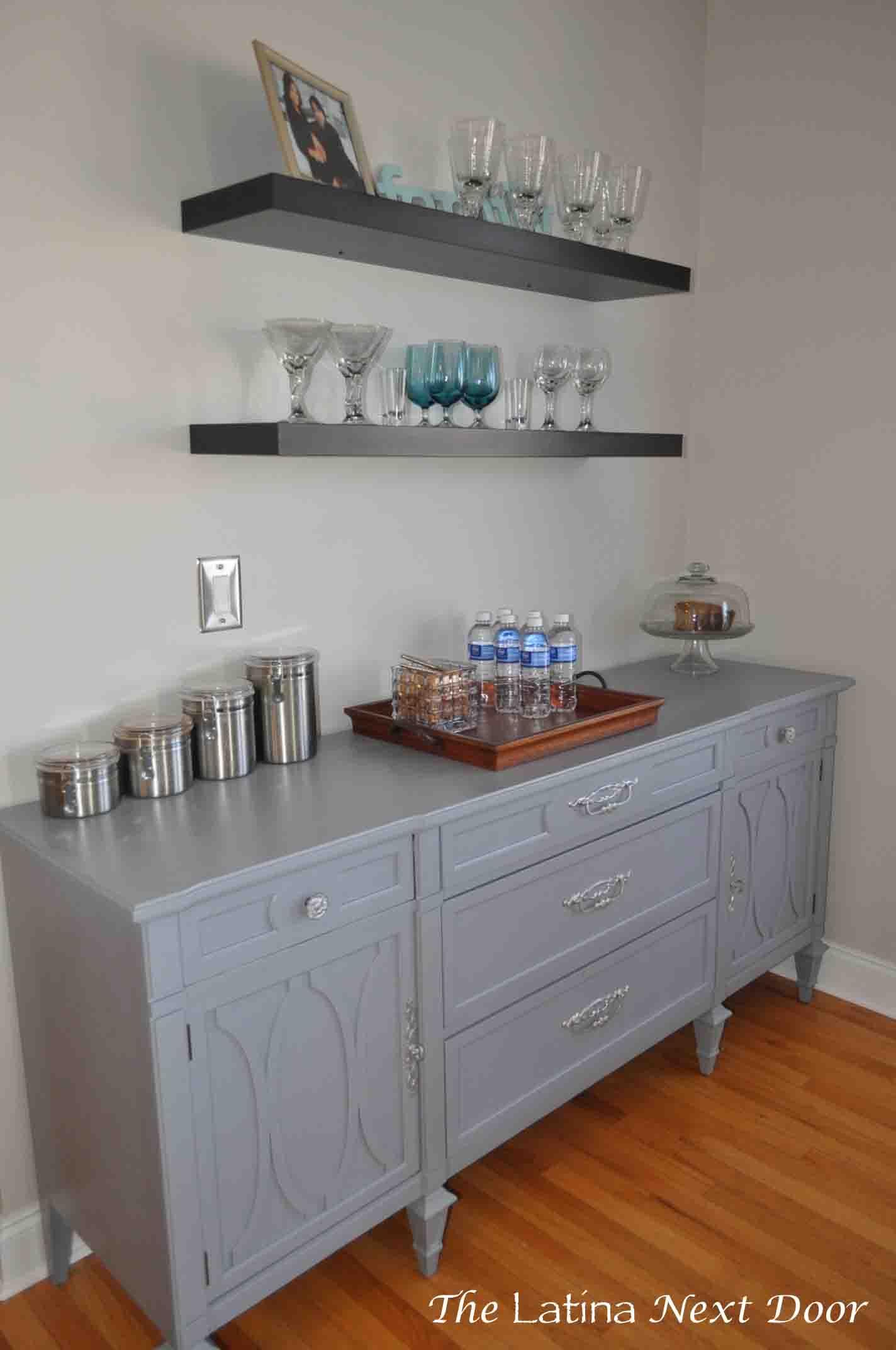 Glidden Smoky Charcoal dresser turned buffet - the latina next door
