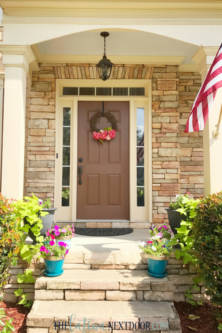 Front porch ideas for curb appeal the latina next door Plants next to front door