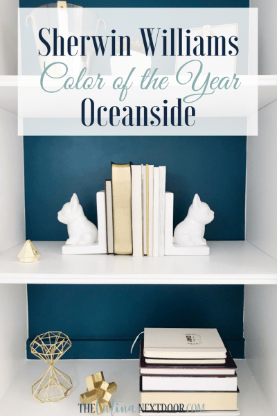 Sherwin Williams Color of the Year Oceanside Bookshelves