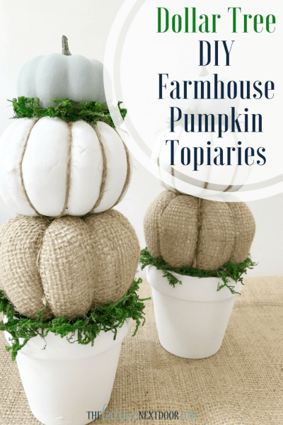 DIY Farmhouse Pumpkin Topiaries