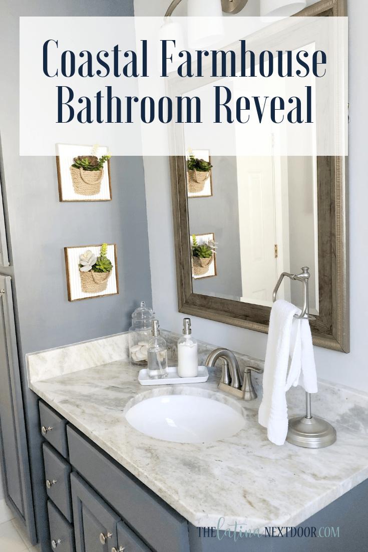 Coastal Farmhouse Bathroom Reveal The Latina Next Door